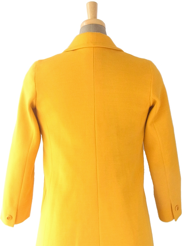 ヨーロッパ古着 60年代フランス製 イエロー X 可愛いポケット ヴィンテージ ウールコート 17FC422