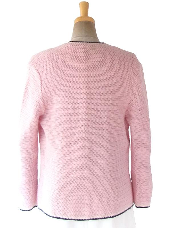 ヨーロッパ古着 フランス買い付け 60年代製 ピンク X ホワイト・ブラック縁取り ウール ニット カーディガン 17FC510