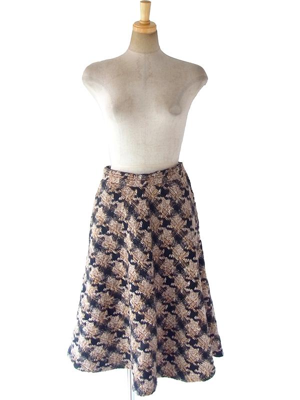ヨーロッパ古着 フランス買い付け 60年代製 ブラック X ブラウン 千鳥格子 ウールツイード スカート 17FC513