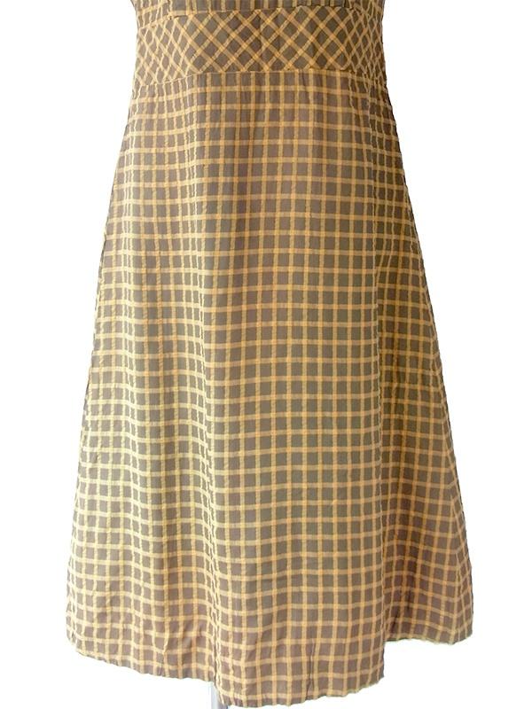 ヨーロッパ古着 ロンドン買い付け 60年代製 カーキ X オレンジ ブロックチェック 背面リボン ヴィンテージ ワンピース 17OM027