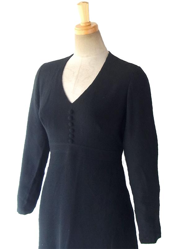 ヨーロッパ古着 ロンドン買い付け 70年代製 ブラック X カラフル レトロ柄刺繍 マキシワンピース 17OM125