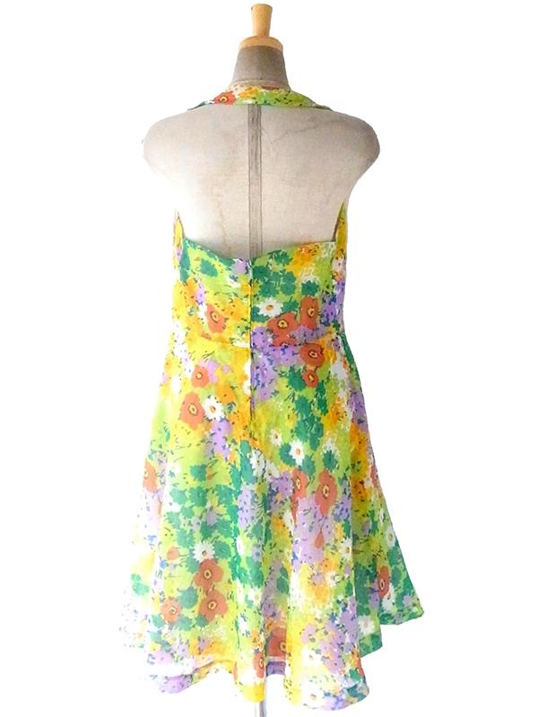 ヨーロッパ古着 ロンドン買い付け 70年代製 イエロートーンのカラフル花柄 ホルターネック ドレス 17OM217