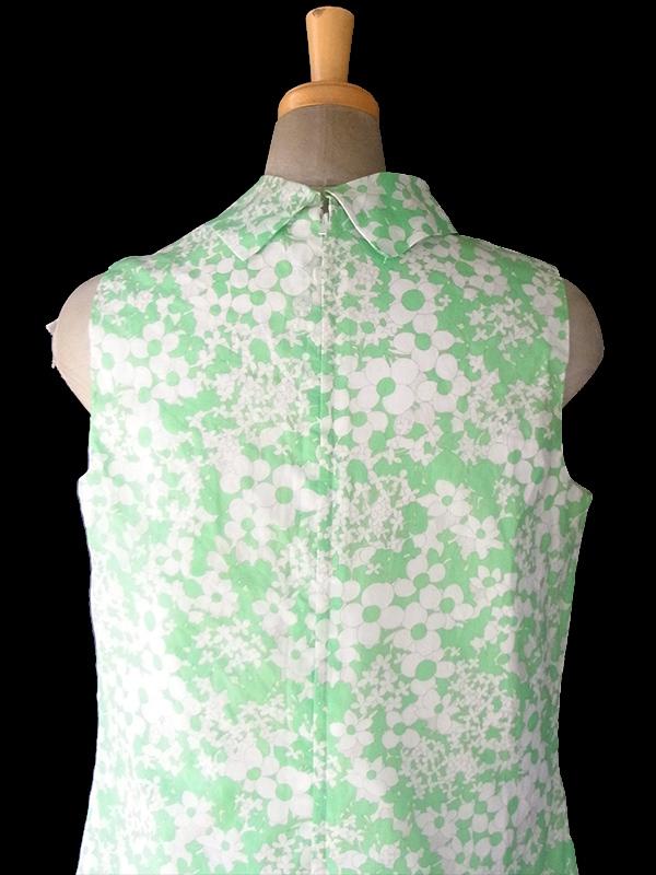 ヨーロッパ古着 ロンドン買い付け 60年代製 淡いグリーン X ホワイト 花柄 Aライン ワンピース 17OM304