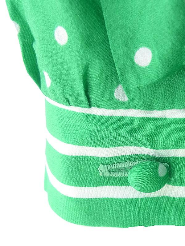 ヨーロッパ古着 ロンドン買い付け 60年代製 グリーン X ホワイト 水玉・ストライプ 共布ベルト付き ワンピース 17OM308