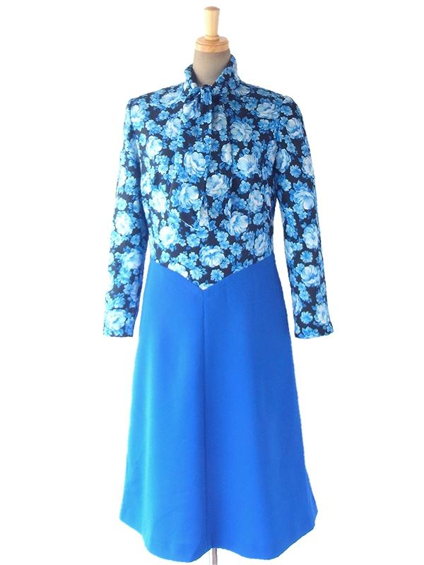 ヨーロッパ古着 ロンドン買い付け 70年代製 ブラック X ブルー 花柄 スカート生地切り返し ボウタイ ワンピース 17OM310