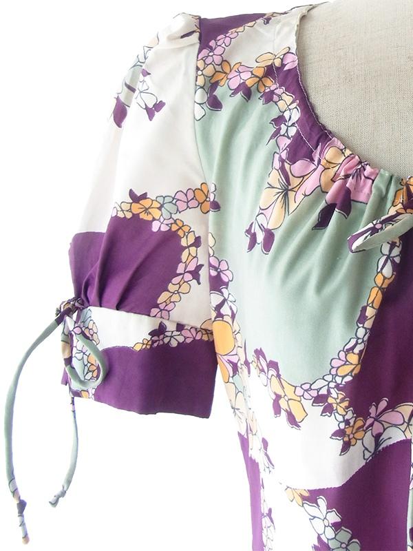 ヨーロッパ古着 ロンドン買い付け 70年代製 パープル X グレイ 花柄 パフスリーブ サテン ワンピース 17OM312