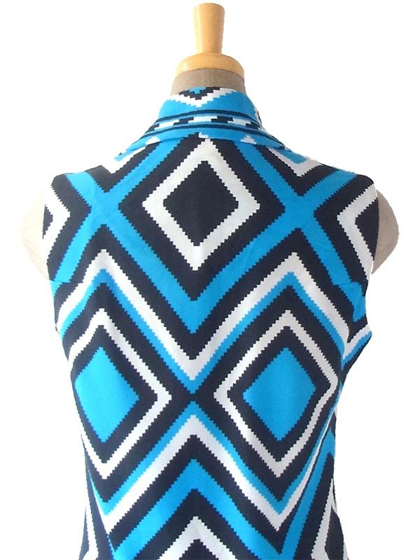 ヨーロッパ古着 ロンドン買い付け 70年代製 ブルー X ブラック・ホワイト 幾何学模様 フロントジップ ワンピース 17OM333
