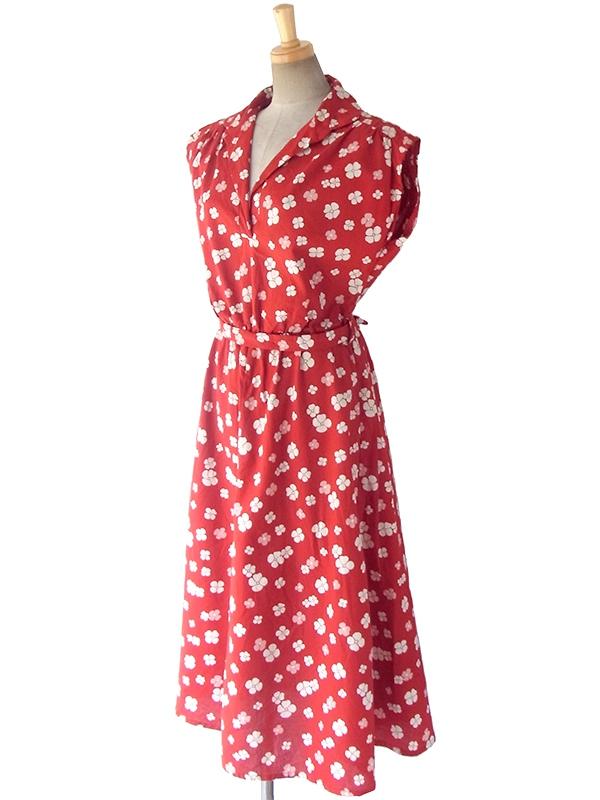 ヨーロッパ古着 ロンドン買い付け えんじ色 X ホワイト・ピンク 花柄 共布ベルト付き ヴィンテージ ワンピース 17OM420