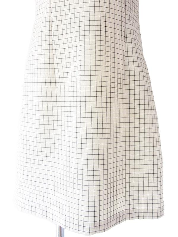 ヨーロッパ古着 ロンドン買い付け 60年代製 オフホワイト X レッド 刺繍 チェック柄 ヴィンテージ ワンピース 17OM421