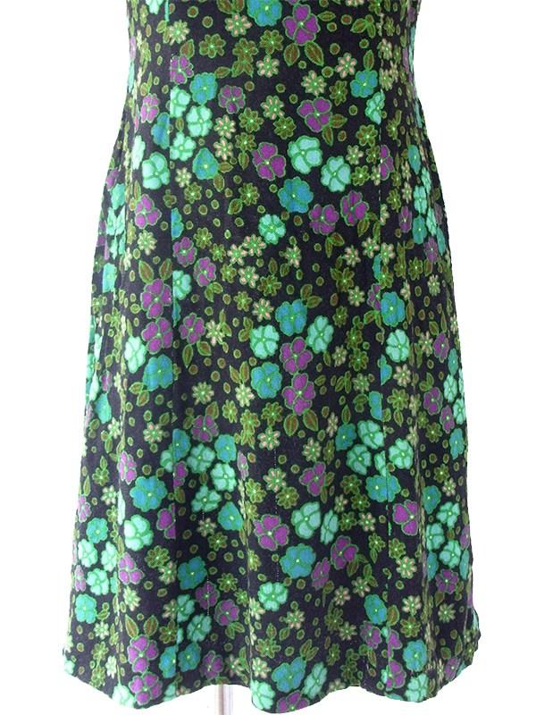 ヨーロッパ古着 ロンドン買い付け 60年代製 ブラック X 水色・グリーン・パープル レトロ花柄 丸襟 ワンピース 17OM434