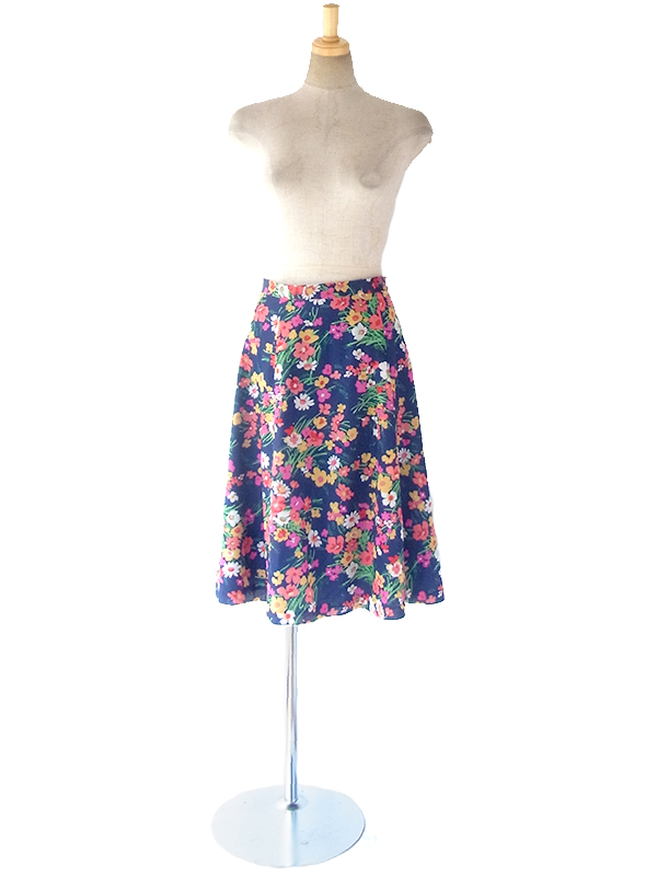 ヨーロッパ古着 ロンドン買い付け 70年代製 ブルー X カラフル花柄 レトロ スカート 17OM438
