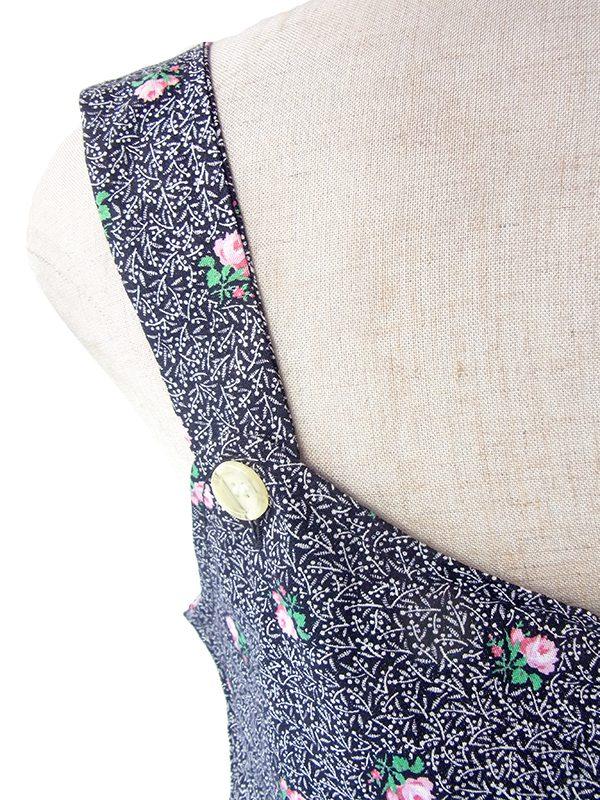 ヨーロッパ古着 ロンドン買い付け モノトーン X ピンク 薔薇プリント・ブロックチェック ポケット付き ストラップ ワンピース 17OM504