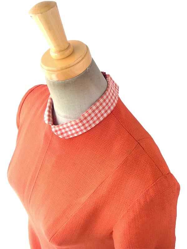 ヨーロッパ古着 ロンドン買い付け 50年代製 朱色 X チェック柄 スカートに切り込みデザイン ヴィンテージ ワンピース 17OM512