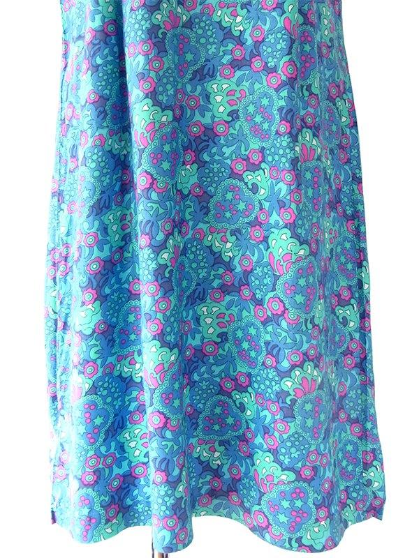 【送料無料】60年代フランス製 ブルー・水色・ピンク レトロ柄 リボン付き デッドストック ワンピース 17OM602【未使用品】