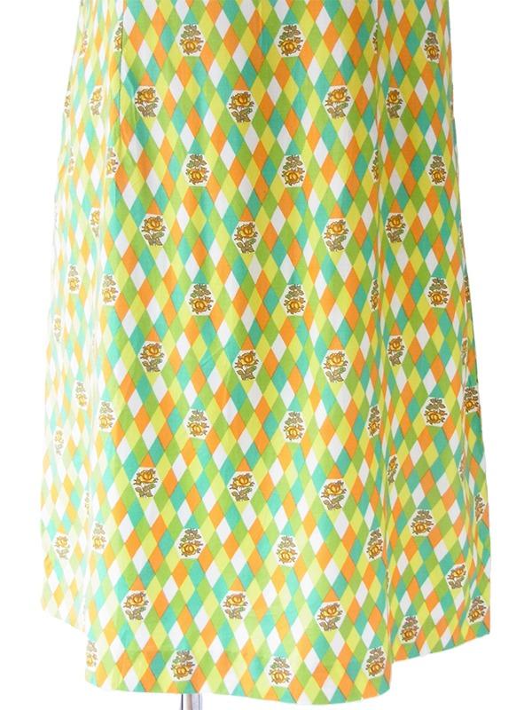 【送料無料】60年代フランス製 グリーン・イエロー・オレンジ・ホワイト ダイヤ・花柄 デッドストック ワンピース 17OM604【未使用品】