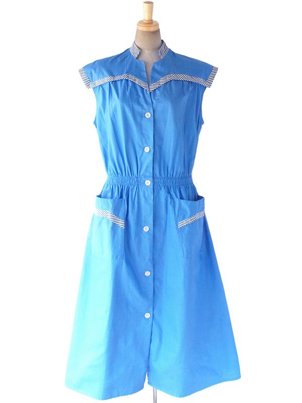 【送料無料】60年代フランス製 水色 X ホワイト・ブルー ストライプ ポケット付き デッドストック ワンピース 17OM731【未使用品】