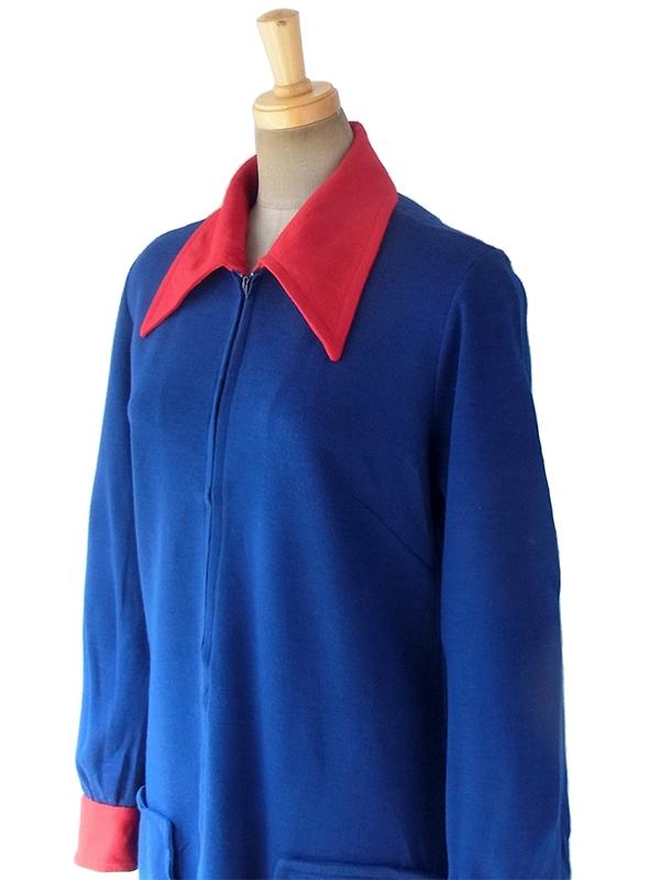 ヨーロッパ古着 ロンドン買い付け 60年代製 ブルー X レッド ポケット付き フロントジップ ウール ワンピース 17OM805