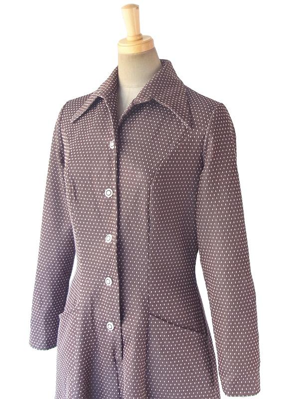ヨーロッパ古着 ロンドン買い付け 70年代製 グレージュ X ホワイト ドット刺繍 ポケット付き ヴィンテージ ワンピース 17OM810