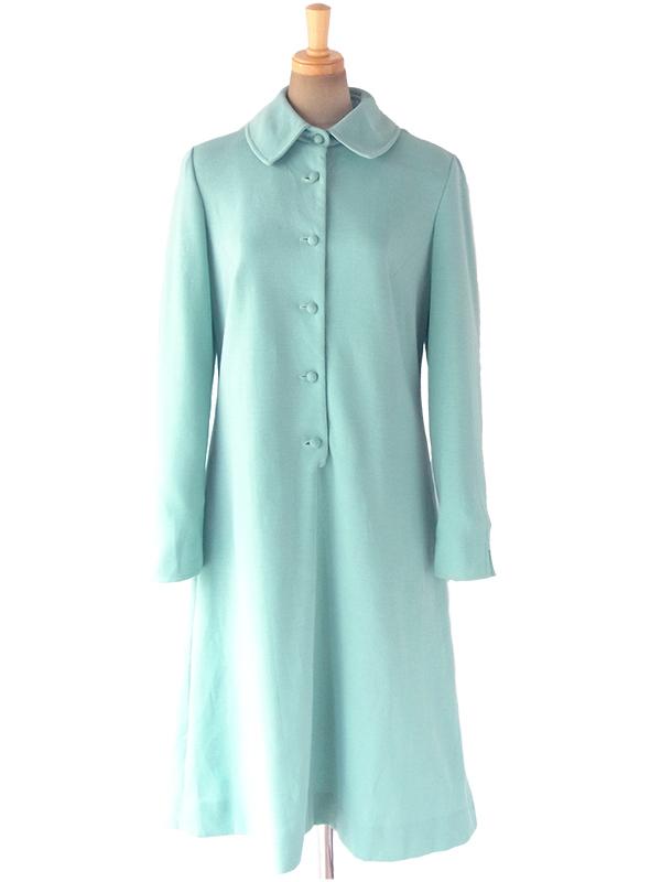 ヨーロッパ古着 ロンドン買い付け 60年代製 水色 X 可愛い形の襟 くるみボタン Aライン ワンピース 17OM816