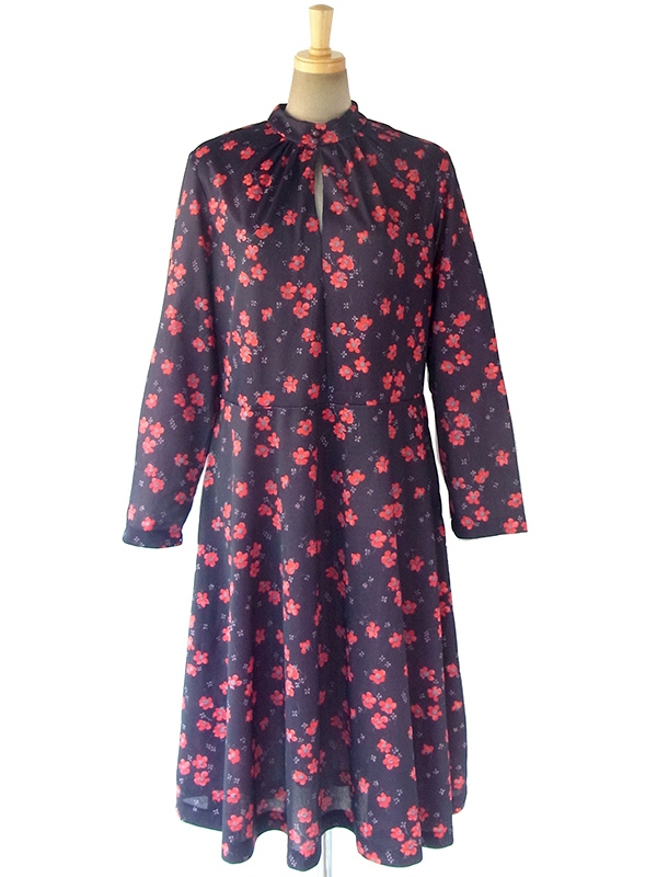ヨーロッパ古着 ロンドン買い付け 70年代製 ブラック X レッド・グレイ 花柄 襟元ギャザー ヴィンテージ ワンピース 17OM820