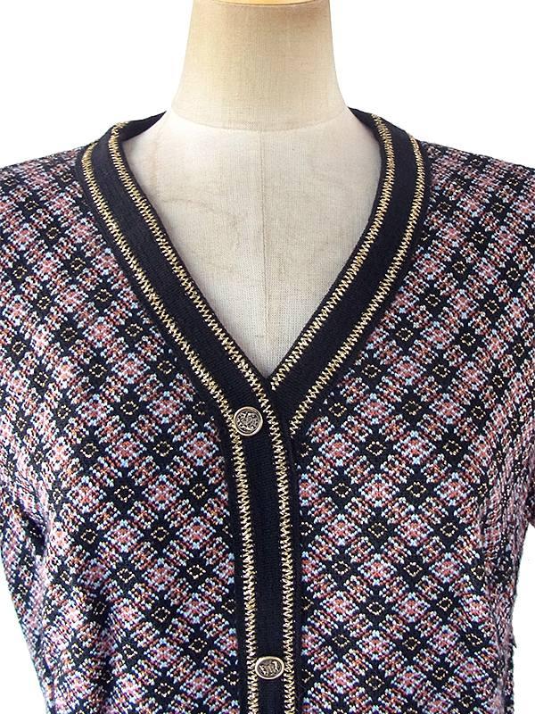 ヨーロッパ古着 ロンドン買い付け 70年代製 ブルー・オレンジ X ゴールドラメ糸 ジャガード織り ヴィンテージ ワンピース 17OM901