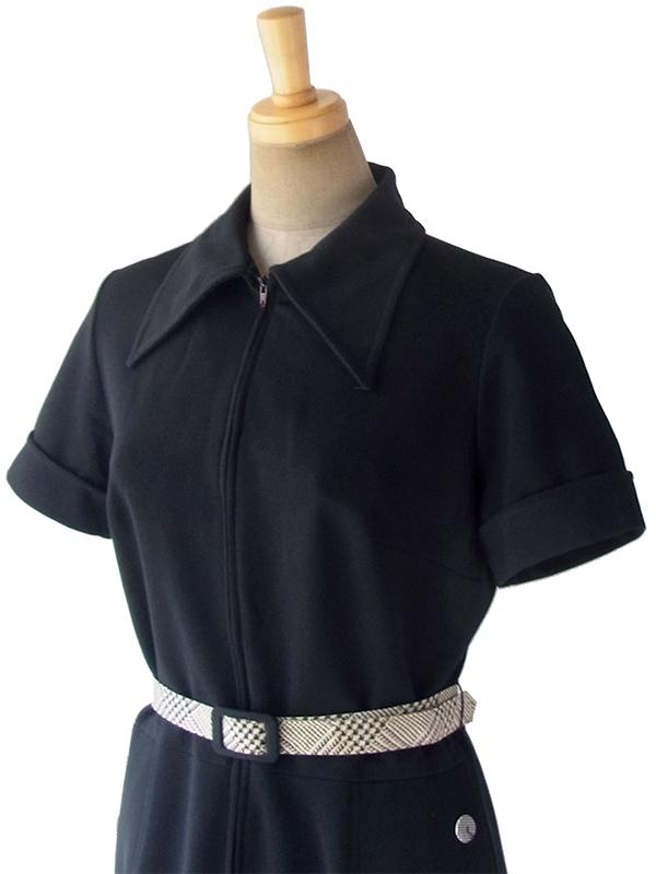 ヨーロッパ古着 ロンドン買い付け 70年代製 ブラック X きれいなシルエット ポケット・ベルト付き レトロ ワンピース 17OM915