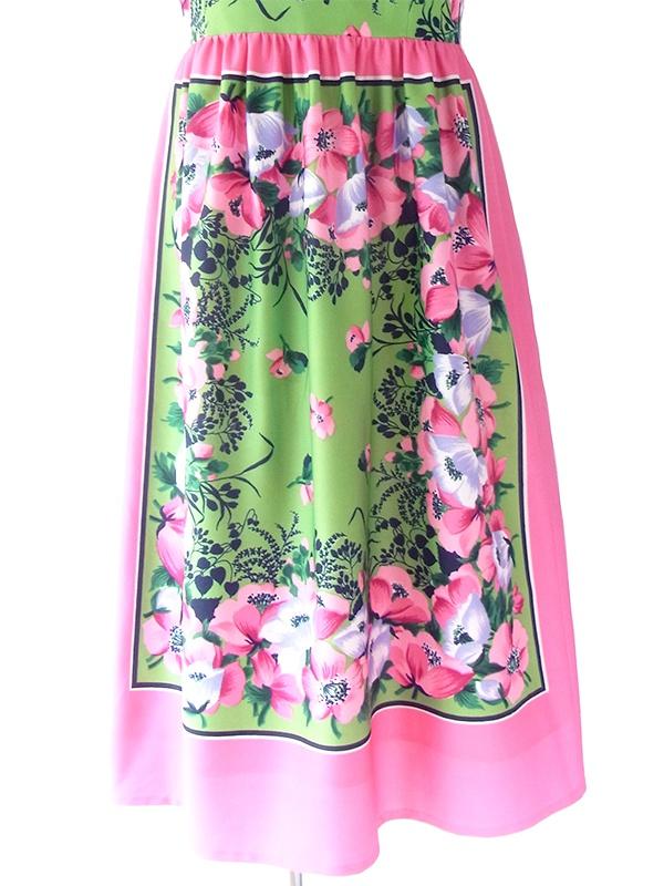ヨーロッパ古着 ロンドン買い付け 70年代製 ピンク X グリーン 花柄 ヴィンテージ ストラップ ワンピース 18BS001