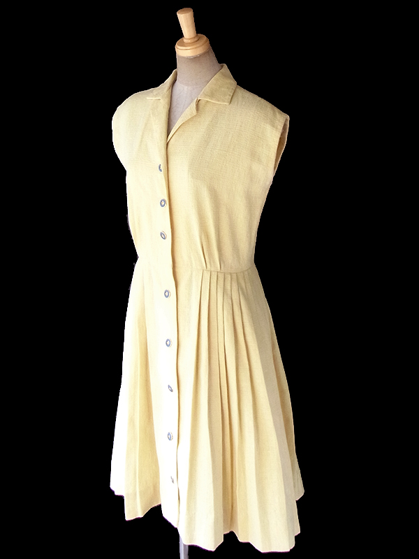 ヨーロッパ古着 ロンドン買い付け 60年代製 レモン色 X ブルーボタン プリーツ ワンピース 18BS023
