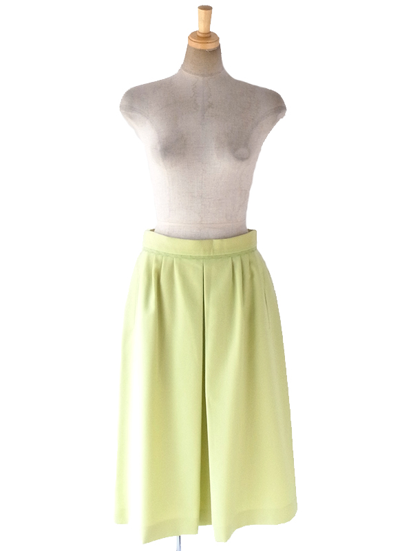 ヨーロッパ古着 ロンドン買い付け 60年代製 若草色 X 山道テープ ポケット付き ウール スカート 18BS026