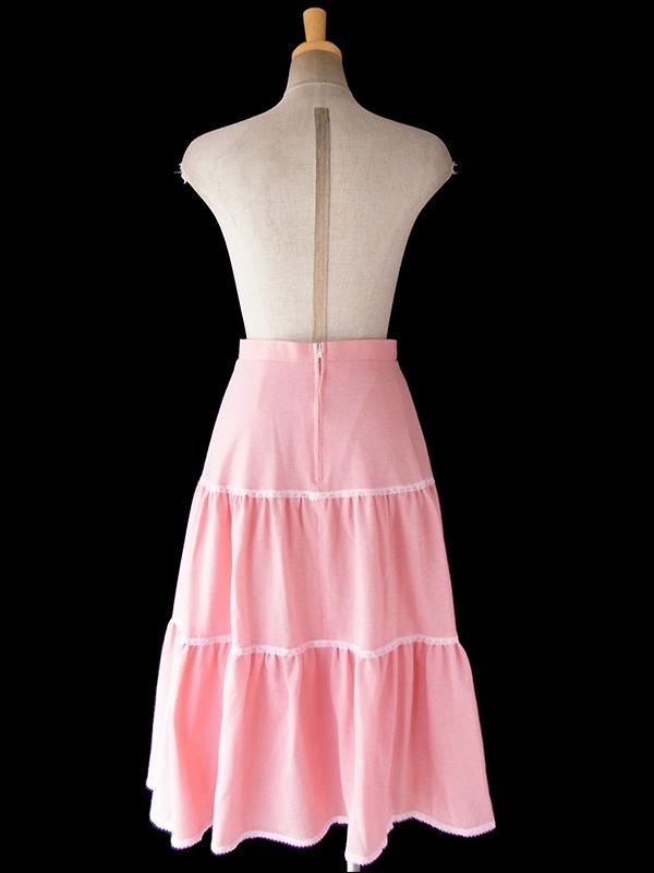 ヨーロッパ古着 ロンドン買い付け ピンク X ピンチェック レーステープ ティアード スカート 18BS029