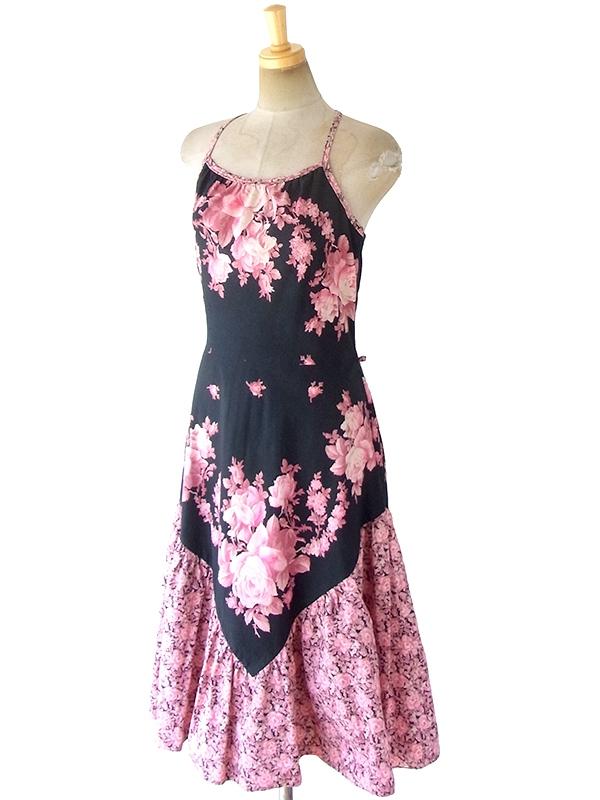 ヨーロッパ古着 ロンドン買い付け 60年代製 ブラック X ピンク 薔薇プリント 裾生地切り返し ホルターネック ワンピース 18BS101