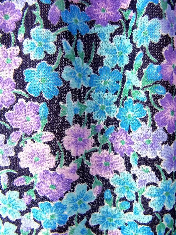 ヨーロッパ古着 ロンドン買い付け 70年代製 ブラック X ブルー・パープル 小花柄 ライニング ティアード ワンピース 18BS102