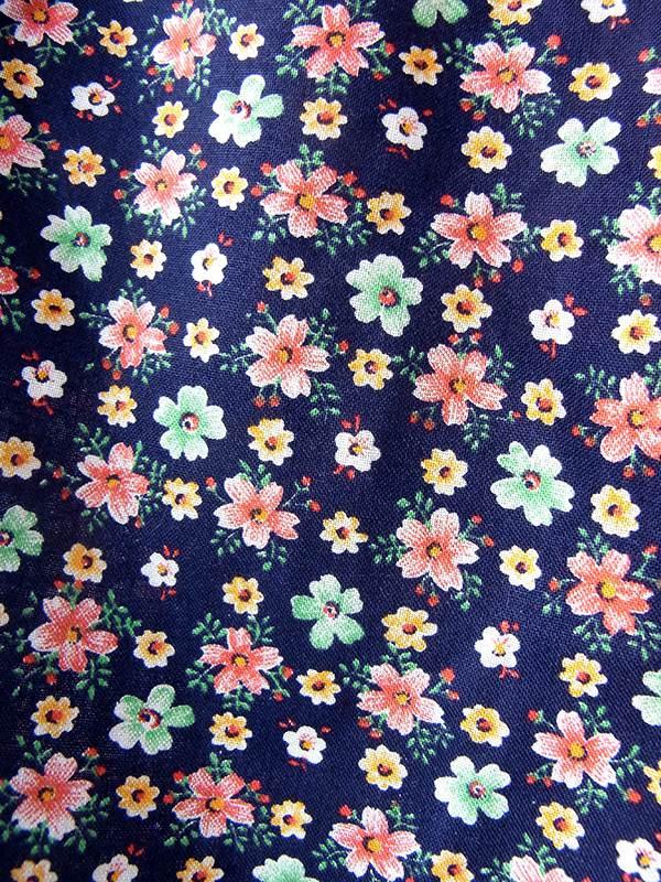 ヨーロッパ古着 フランス買い付け 60年代製 ネイビー X カラフル花柄 ポケット付き ヴィンテージ ワンピース 18FC110