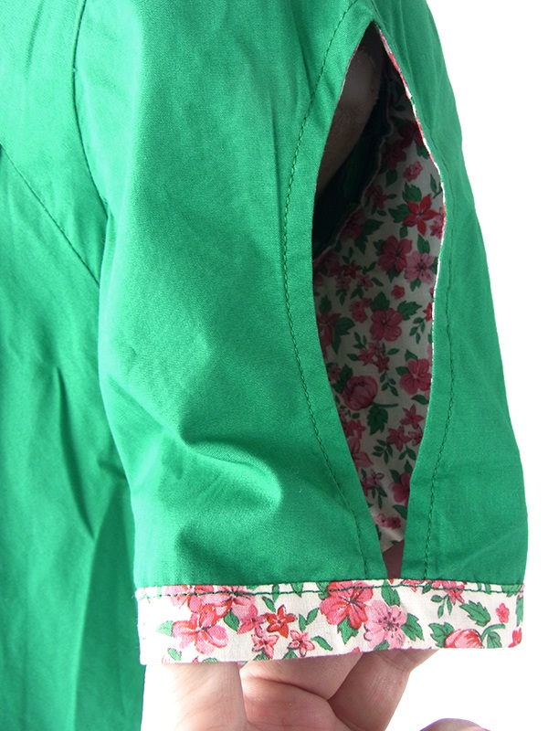 ヨーロッパ古着 フランス買い付け 60年代製 グリーン X 花柄生地切り返し Aライン ワンピース 18FC114