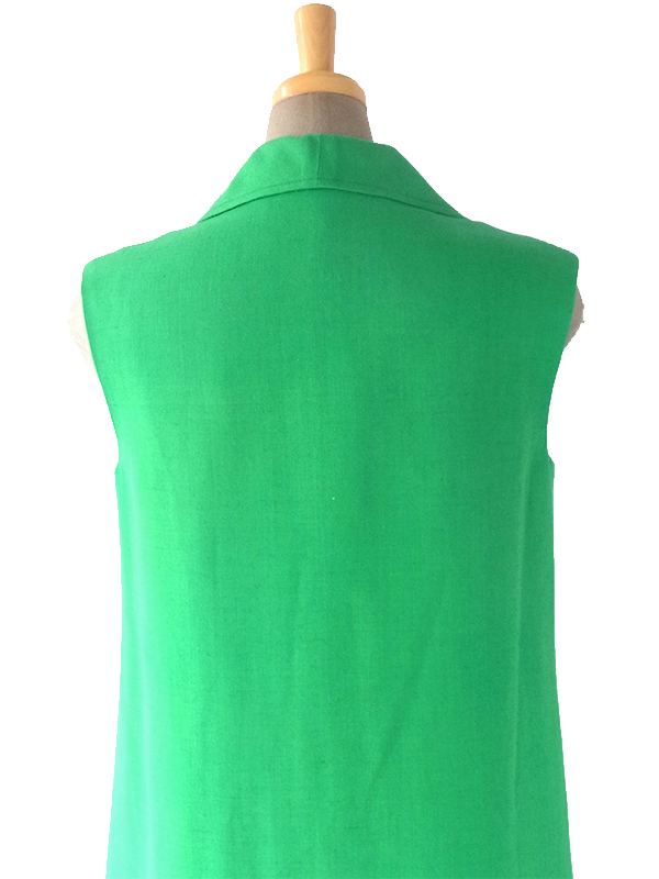 ヨーロッパ古着 フランス買い付け 60年代製 美しいグリーン X シームデザイン ポケット付き ヴィンテージ ワンピース 18FC116
