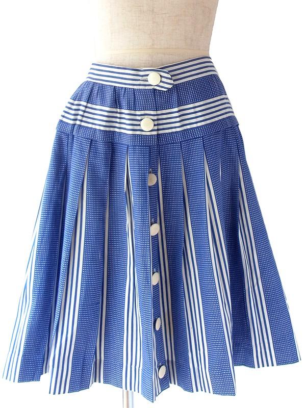 ヨーロッパ古着 フランス買い付け 60年代製 ブルー X ホワイト スクエア・ストライプ柄 ボックスプリーツ スカート 18FC119
