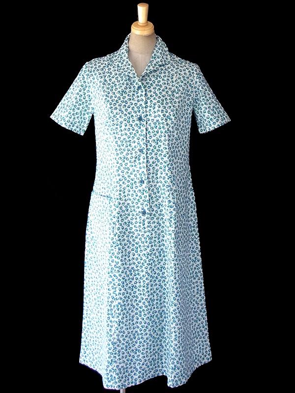 ヨーロッパ古着 60年代フランス製 ホワイト X ブルー 小花柄 ポケット付き シャツ ワンピース 18FC200