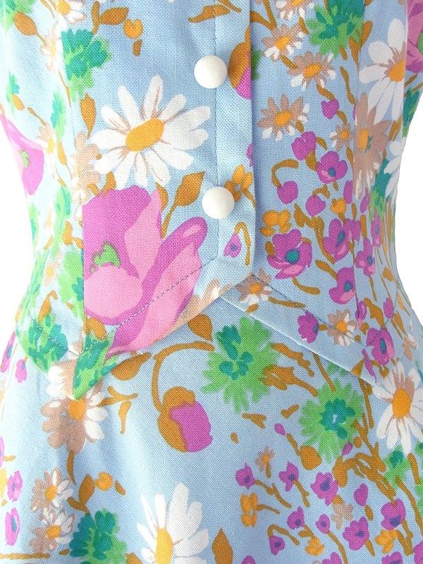ヨーロッパ古着 60年代フランス製 水色 X カラフル花柄 ペプラム風デザイン ヴィンテージ ワンピース 18FC202