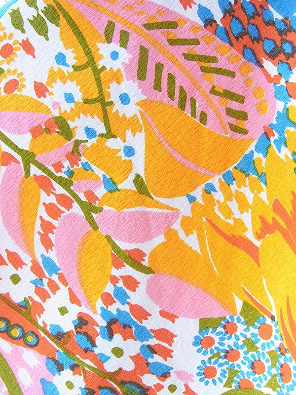 ヨーロッパ古着 フランス買い付け 60年代製 オレンジ X カラフル花柄 ヴィンテージ カシュクール ワンピース 18FC212