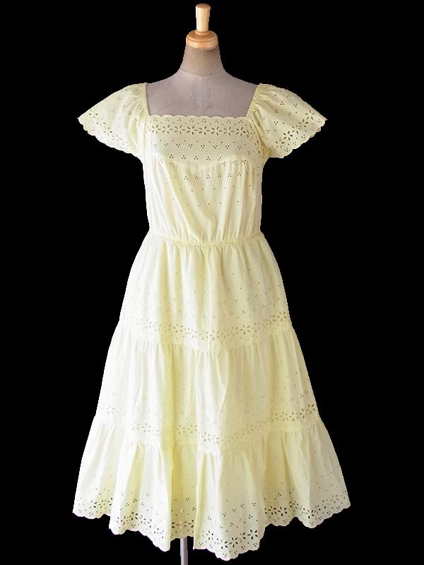 ヨーロッパ古着 フランス買い付け 60年代製 レモン色 X 花柄カットレース パフスリーブ ティーアド ワンピース 18FC301