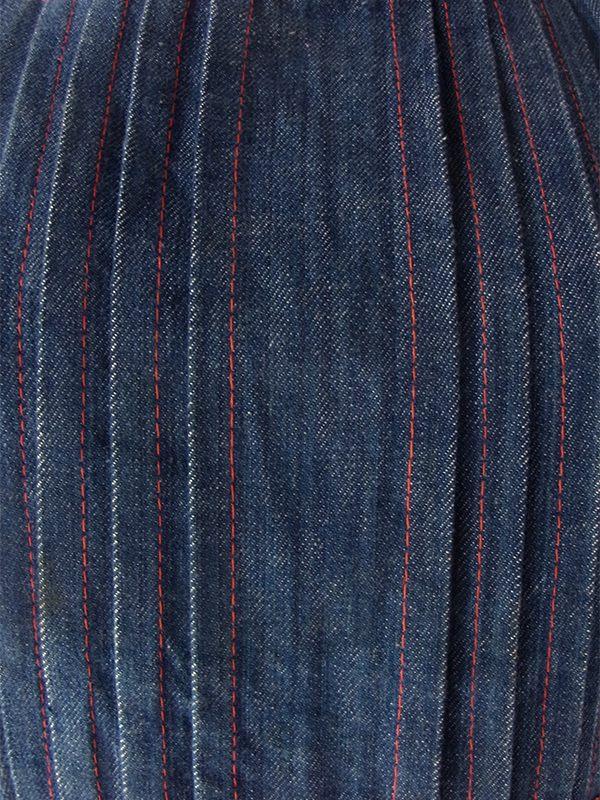 ヨーロッパ古着 フランス買い付け 60年代製 インディゴ X レッドステッチ・小花柄生地 デニム ワンピース 18FC302