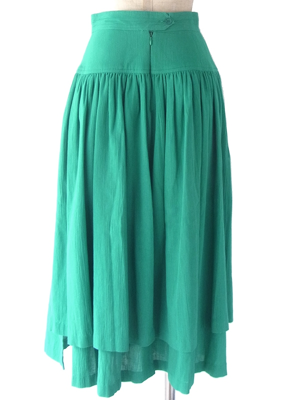 ヨーロッパ古着 60年代フランス製 エメラルドグリーン X ギャザーデザイン ティアード スカート 18FC314