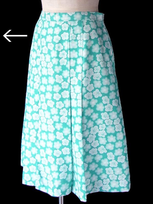 ヨーロッパ古着 フランス買い付け 60年代製 エメラルドブルー X ホワイト 花柄 プリーツ スカート 18FC315