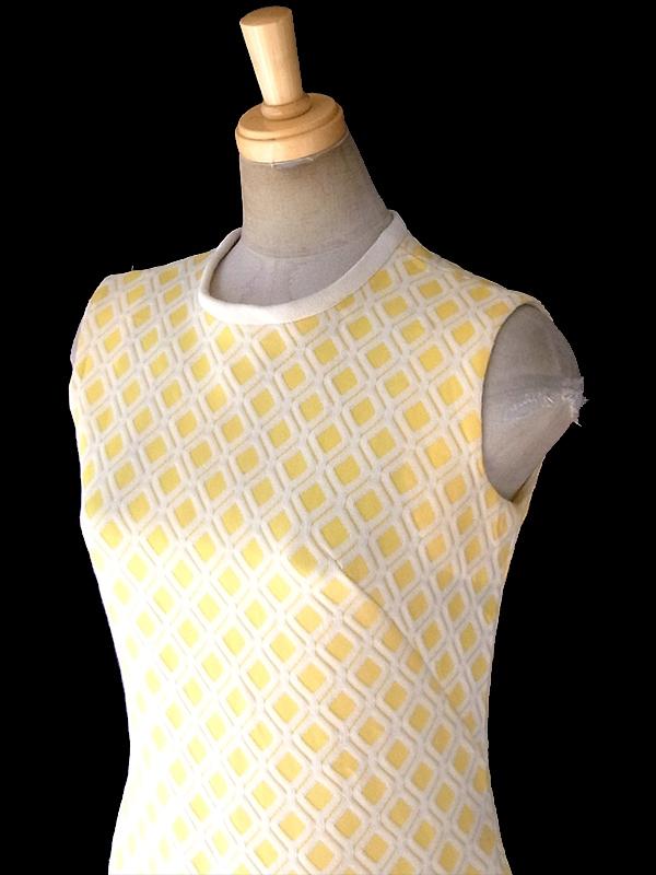 ヨーロッパ古着 ロンドン買い付け 60年代製 レモン色 X ホワイト ダイヤ柄 ワッフル地 ドロップウェスト ワンピース 18OM100