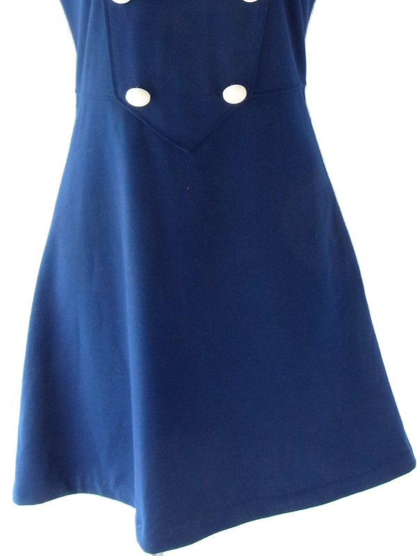 ヨーロッパ古着 ロンドン買い付け 60年代製 ブルー X ホワイト ボタンデザイン ヴィンテージ ワンピース 18OM125