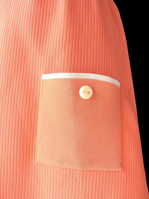 ヨーロッパ古着 ロンドン買い付け 70年代製 ホワイト X アプリコット クレープ地 ポケット付き レトロ ワンピース 18OM133