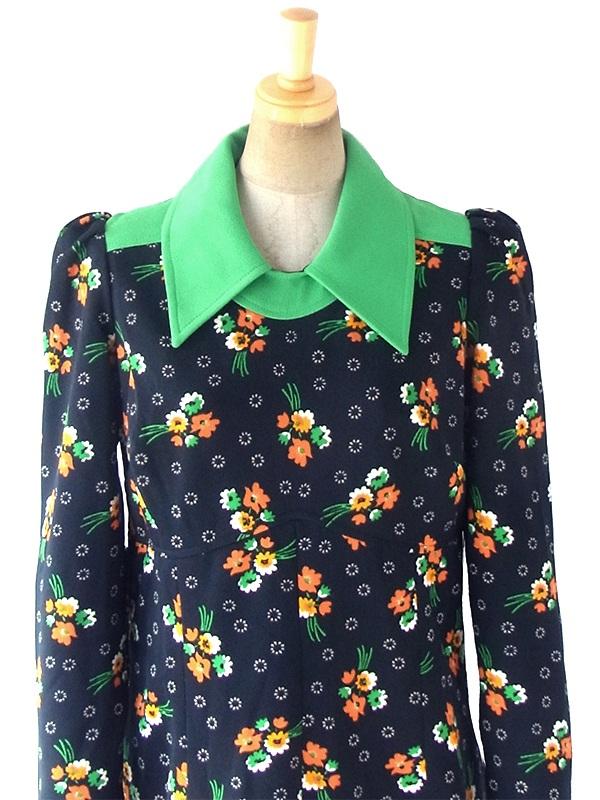 ヨーロッパ古着 ロンドン買い付け 70年代製 ブラック X グリーン襟 カラフル花柄 レトロ ワンピース 18OM207