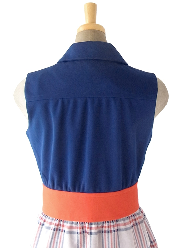 ヨーロッパ古着 ロンドン買い付け 70年代製 ネイビー X レッド チェックの前合わせスカート ヴィンテージ ワンピース 18OM307