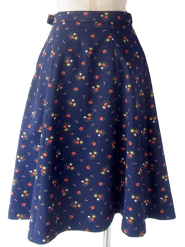 ヨーロッパ古着 ロンドン買い付け 60年代製 ネイビー X カラフル花柄 コーデュロイ スカート 18OM339