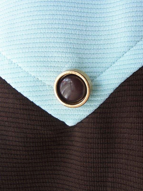 ヨーロッパ古着 ロンドン買い付け 70年代製 ミントブルー X ブラウン 切り返し 水玉スカーフタイ レトロ ワンピース 18OM410